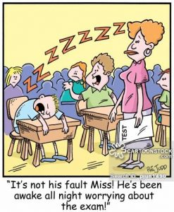 'It's not his fault Miss! He's been awake all night worrying about the exam!'